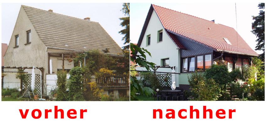 Fassade vorher nachher  Dachdecker: Dach und Fassade Günter Brachmann - Referenzen